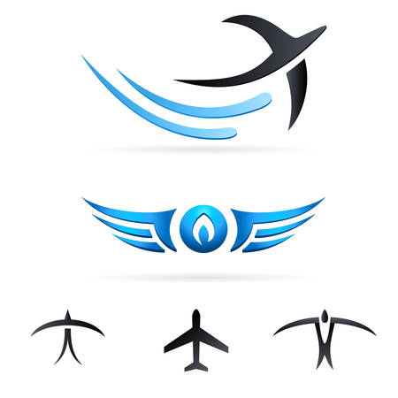 flying birds and anoter air signs 向量圖像