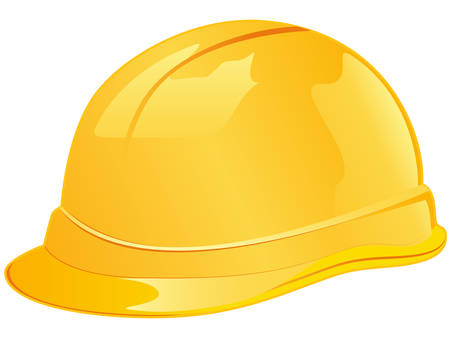 hard cap: yellow worker helmet Illustration