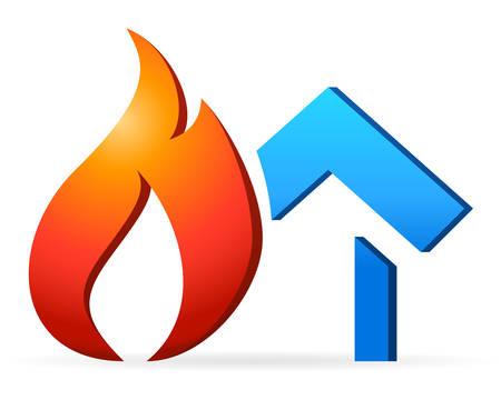 incendio casa: casa del fuego Vectores
