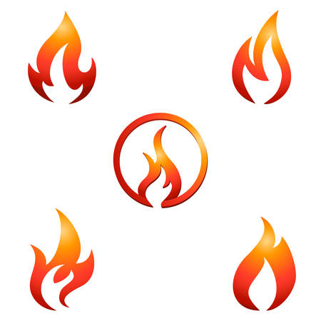 fire and flame  icon set Vectores