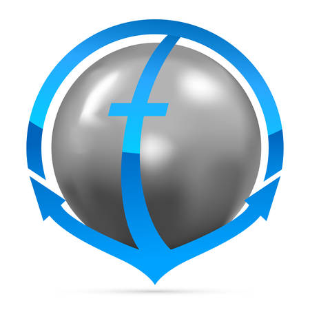 metal ball: anchor with metal ball, transportation - icon, button, symbol