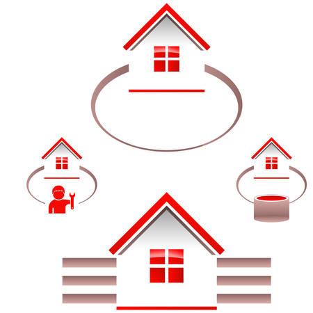 casco rojo: iconos de bienes raíces