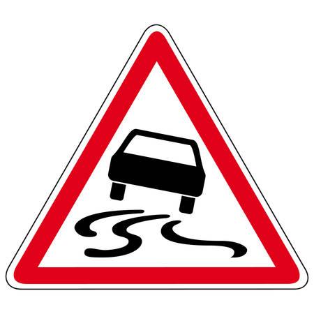 warnem      ¼nde: rutschigen Straße - Vektor-Zeichen