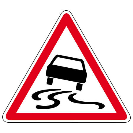 slippery: slippery road - vector sign