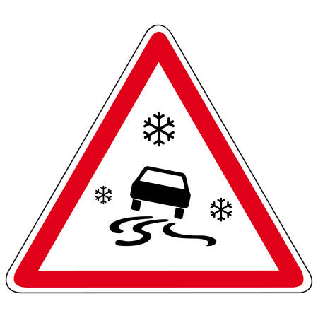 winter road: slippery road - vector sign