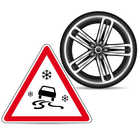 snow tires: winter tires and sign slippery road
