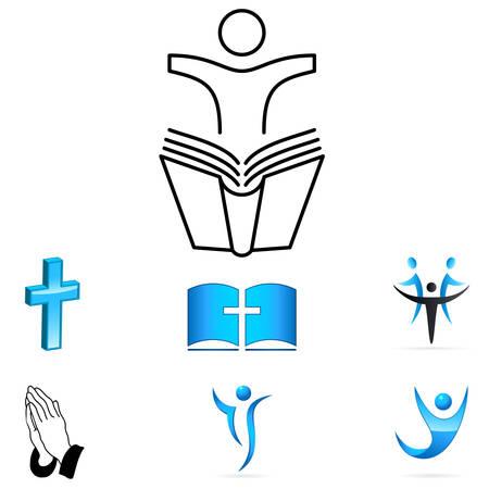 sermon: faith sign - vector icons