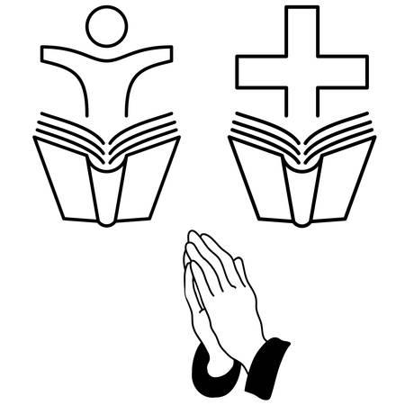 sermon: faith signs - vector icons