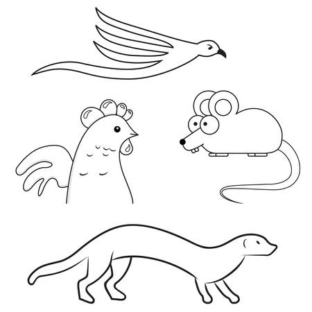 weasel: gull, marten, weasel, chicken, mouse  - vector icons Illustration