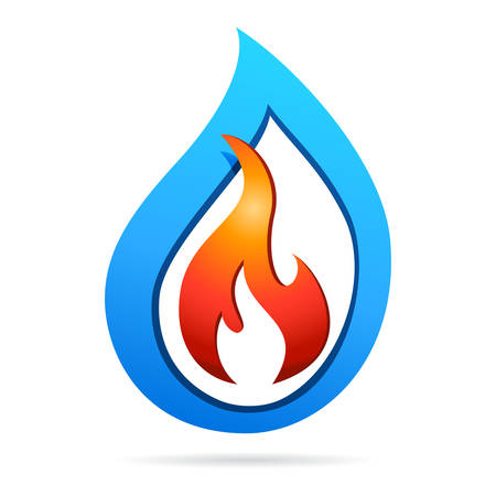 fire and water - 3d icon