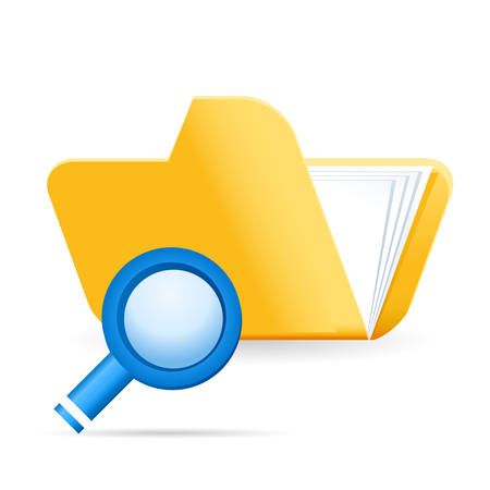 stack of files: file folder and magnifying glass - web icon