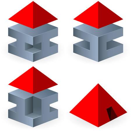 brokerage: 3d icon set  real estate  pyramide