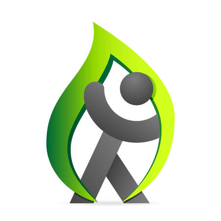 natural health: green eco icon with person