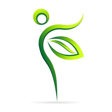 femme papillon: soins de santé nature - icône verte