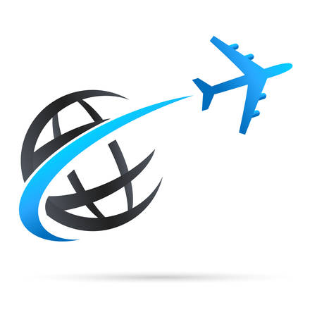 globe illustration: airplane flying around earth - vector icon Illustration