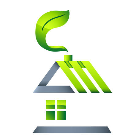 recycling logo: eco house - real estate icon Illustration