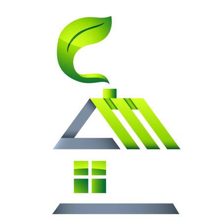 logo recyclage: maison éco - icône immobilier Illustration