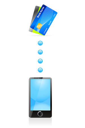 processing: mobile payment - mobile phone and credit card - vector icons