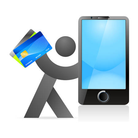 phone card: mobile payment - man with credit card and mobile phone