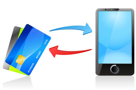 technology transaction: mobile payment - mobile phone and credit card - vector icons