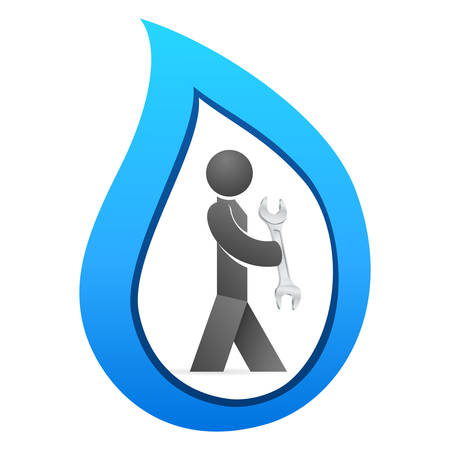 grasp: plumber with wrench and water drop