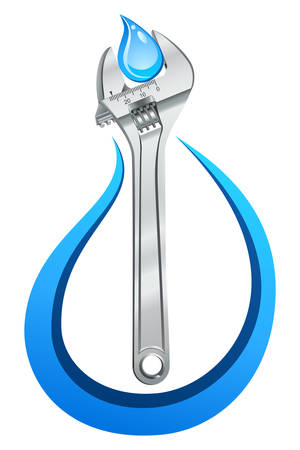adjustable: adjustable wrench and water drop - vector icon