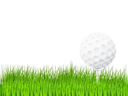 golf ball on green grass Ilustração