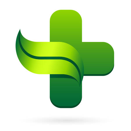 medical cross symbol: pharmacy symbol with leaf icon