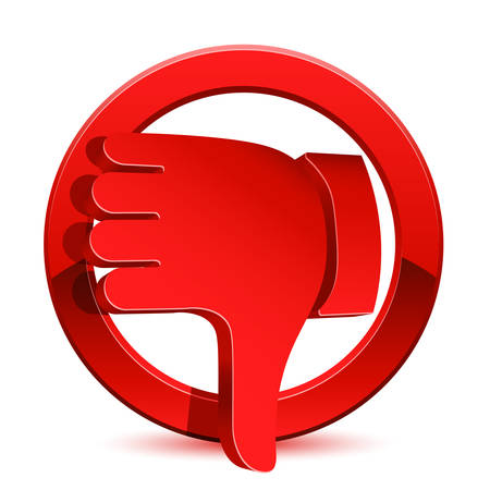 thumbs down: down, thumbs, icon, thumb, red, sign, button, hand, symbol, web, no, negative, bad, dislike, internet, vote, stop, circle, illustration, isolated, finger, website, denied, design, unlike, cancel, deny, concept, 3d