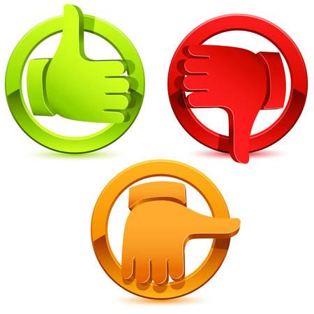 kciuki zestaw ikon - ilustracja