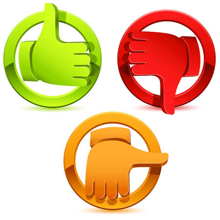 average: thumbs icon set - illustration