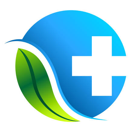 pharmacy symbol: pharmacy symbol with leaf  illustration
