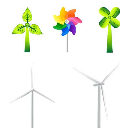 風車や風力タービンのイラスト  イラスト・ベクター素材