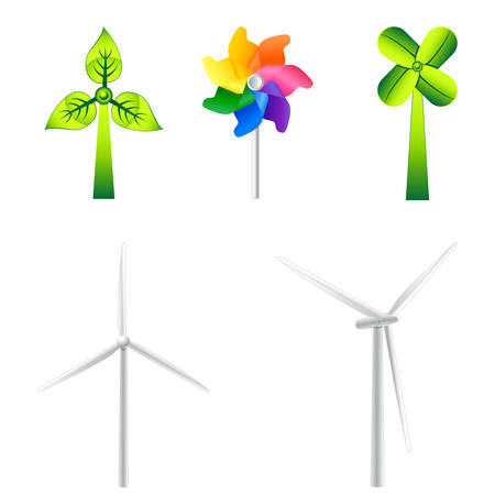 mulini a vento e turbine eoliche illustrazione Vettoriali