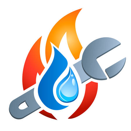 gas pipe: gas, water, plumbing - vector icon
