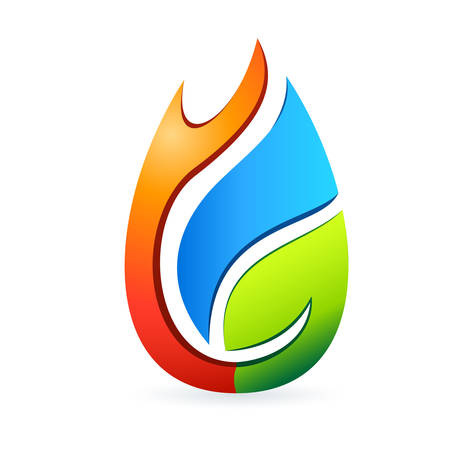 fire and water: fire, water drop and tree leaf - icon