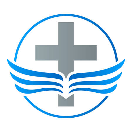 religious backgrounds: faith cross wings icon Illustration