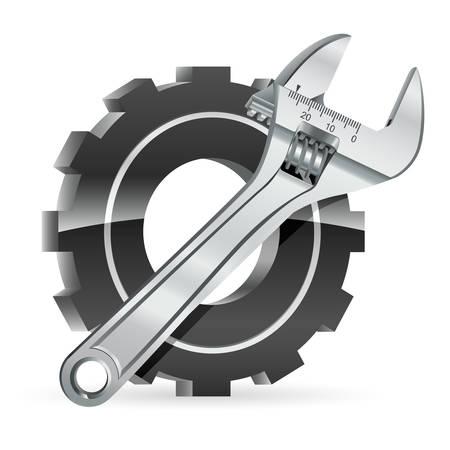 cogwheels: cogwheel and adjustable wrench - vector illustration
