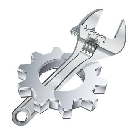 maquinaria: rueda de engranaje y una llave ajustable Vectores