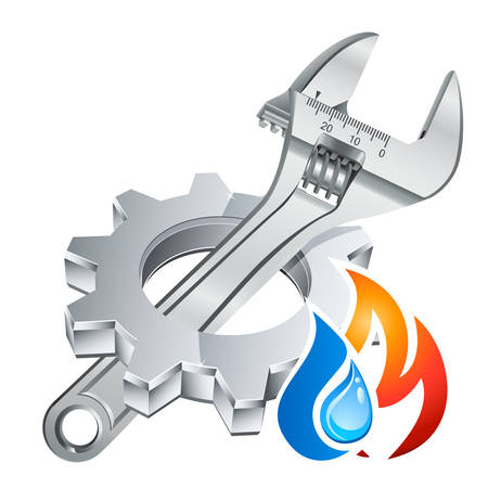 plumber icon with gear, adjustable wrench and firewater symbol