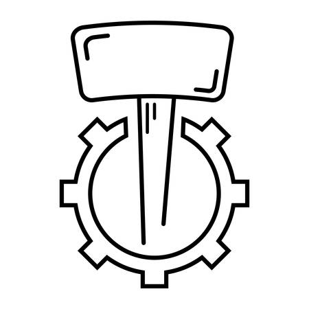 industrial icon: hammer and gear wheel - industrial icon