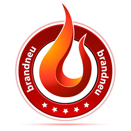 brand new: button with flame and text in german brand new Illustration