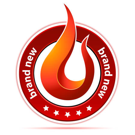 brand new: brand new button with flame - vector illustration Illustration