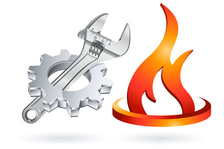 Plumber icon with gear, adjustable wrench and fire symbol Illustration