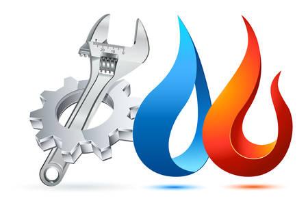 Icono de fontanero con engranaje, llave ajustable y símbolo de fuego / agua Foto de archivo - 83570977