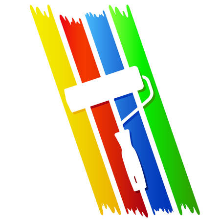 4 color stripes and paint roller - symbol for painter Vetores