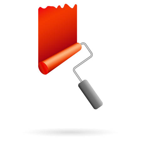red paint roller - painter symbol