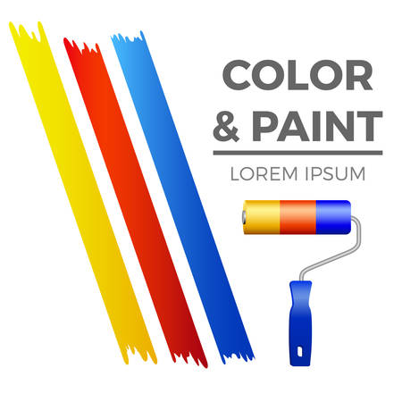 A painter symbol - colorful stripes with paint roller