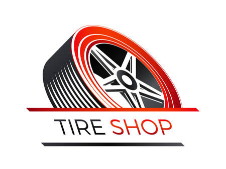 A tire shop  on 3d look of a car wheel isolated on plain background.