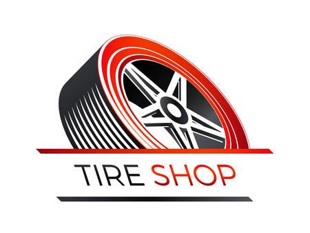 Un magasin de pneus sur le look 3d d'une roue de voiture isolée sur fond uni.